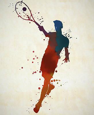 Sports Paintings - Tennis Shot Color Splatter by Dan Sproul