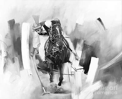 Animals Paintings - Tent pegging charcoal by Gull G