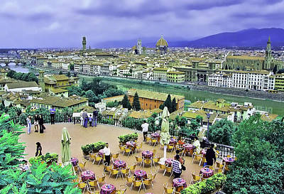 Popstar And Musician Paintings Royalty Free Images - Terrace Overlooking Florence Royalty-Free Image by Allen Beatty
