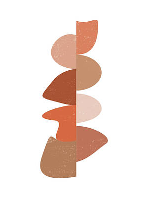 Mixed Media Royalty Free Images - Terracotta Abstract 16 - Modern, Contemporary Art - Abstract Organic Shapes - Brown, Burnt Orange Royalty-Free Image by Studio Grafiikka