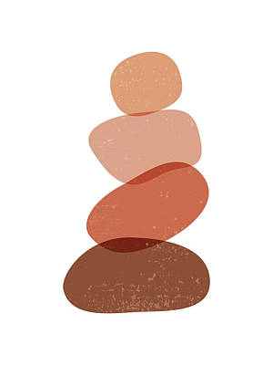 Mixed Media Royalty Free Images - Terracotta Abstract 60 - Modern, Contemporary Art - Abstract Organic Shapes - Zen Pebbles - Brown Royalty-Free Image by Studio Grafiikka