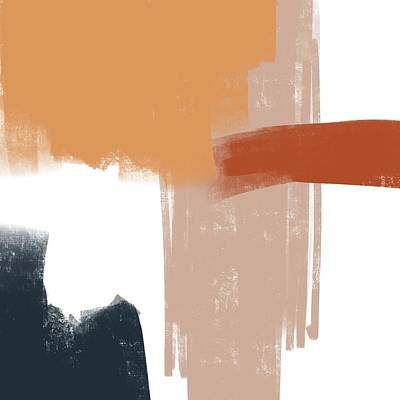Mixed Media Royalty Free Images - Terracotta Strokes 1 - Contemporary Abstract Painting - Minimal, Modern - Brown, Burnt Orange, Beige Royalty-Free Image by Studio Grafiikka