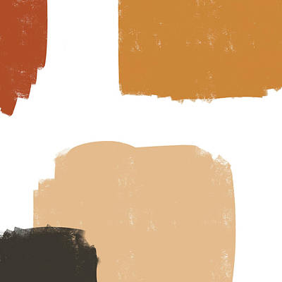 Mixed Media Royalty Free Images - Terracotta Strokes 2 - Contemporary Abstract Painting - Minimal, Modern - Brown, Burnt Orange, Beige Royalty-Free Image by Studio Grafiikka