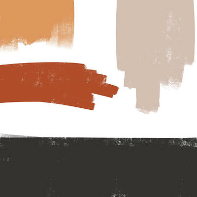 Mixed Media Royalty Free Images - Terracotta Strokes 3 - Contemporary Abstract Painting - Minimal, Modern - Brown, Burnt Orange, Beige Royalty-Free Image by Studio Grafiikka