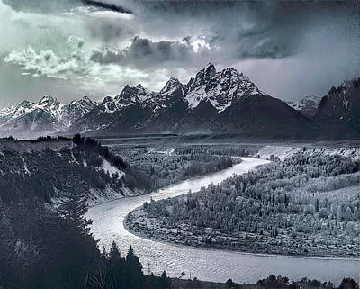 Reptiles Royalty-Free and Rights-Managed Images - Tetons And The Snake River by Ansel Adams
