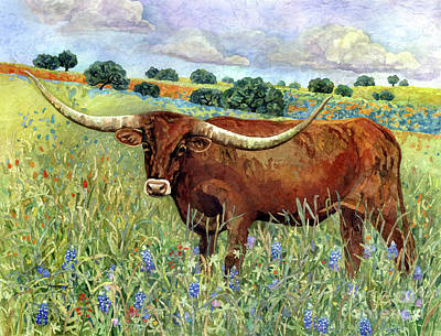 Royalty-Free and Rights-Managed Images - Texas Longhorn 2-pastel colors by Hailey E Herrera