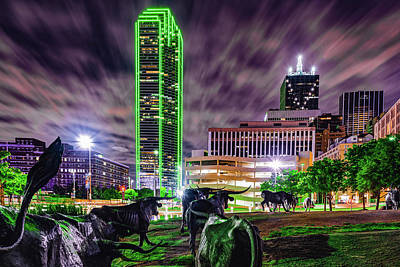 Royalty-Free and Rights-Managed Images - Texas Longhorn Cattle Drive To the Dallas Skyline by Gregory Ballos