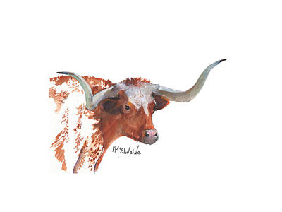Animal Portraits - Texas Longhorn Cattle LH006 Watercolor Painting by Kathleen McElwaine by Kathleen McElwaine