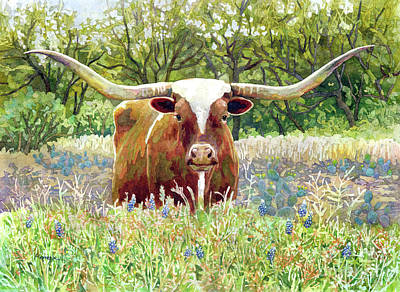 Royalty-Free and Rights-Managed Images - Texas Longhorn-pastel colors by Hailey E Herrera