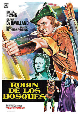 Mixed Media Royalty Free Images - The Adventures of Robin Hood, with Errol Flynn, 1938 Royalty-Free Image by Stars on Art