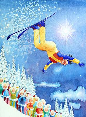 Sports Paintings - The Aerial Skier 18 by Hanne Lore Koehler