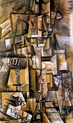 Recently Sold - Surrealism Royalty Free Images - The Aficionado by Pablo Picasso 1912 Royalty-Free Image by Pablo Picasso