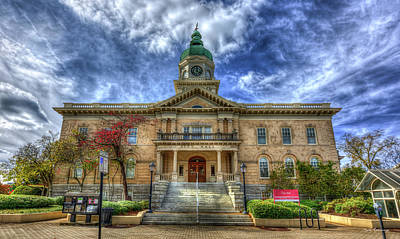 Thomas Kinkade Rights Managed Images - The Athens-Clark County City Hall Building Historic Architectural Art Royalty-Free Image by Reid Callaway