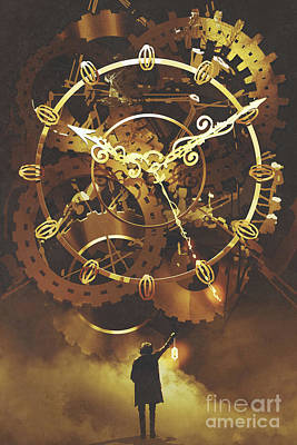Wild Horse Paintings - The Big Golden Clockwork by Tithi Luadthong