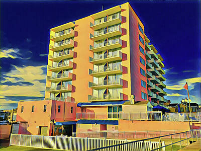 Surrealism Royalty-Free and Rights-Managed Images - The Big Pink Hotel by Surreal Jersey Shore