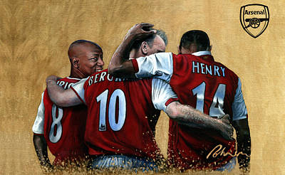 Sports Paintings - The Big Three - Arsenal FC by Mark Robinson