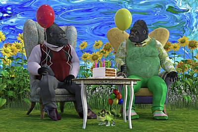 Animals Digital Art - The Birthday Party by Betsy Knapp
