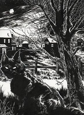 Drawing - The Black Cat by Dan Henk