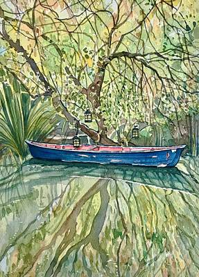 Wild Horse Paintings - The Blue Canoe by Luisa Millicent