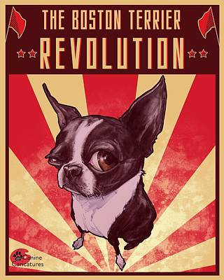 Drawings Royalty Free Images - The Boston Terrier Revolution Royalty-Free Image by John LaFree
