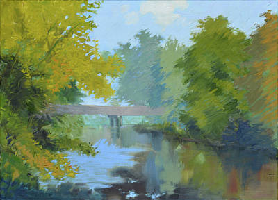 Painting - The Bridge And Stream by Aaron Bowles