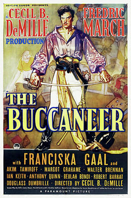 Mixed Media Royalty Free Images - The Buccaneer, with Fredric March, 1938 Royalty-Free Image by Stars on Art