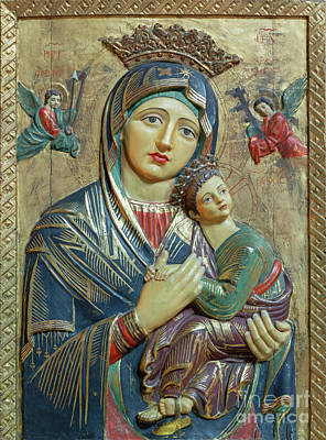 Red Roses -  The carved polychrome relief of Madonna  by Jozef Sedmak