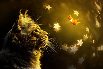Animals Digital Art - The Cat and the Hummingbird by Elisabetta Artusi