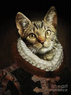 Digital Art - The cat of Orange by Babette Van den Berg