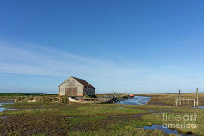 Royalty-Free and Rights-Managed Images - The Coal Barn and boat at Thornham Staithe by John Edwards