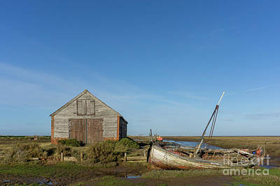 Royalty-Free and Rights-Managed Images - The Coal Barn and wreck at Thornham Staithe by John Edwards