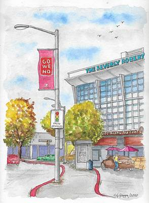 Cartoons Tees - The Coffee Bean and The Beverly Robinson Building, Beverly Hills, California by Carlos G Groppa