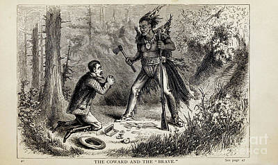 Drawings Royalty Free Images - THE COWARD AND THE BRAVE i1 Royalty-Free Image by Historic illustrations