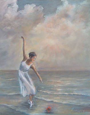 Painting - The dance of the ballerina by the sea by Katalin Luczay