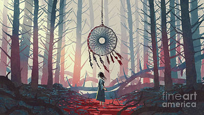 Popstar And Musician Paintings - The Dreamcatcher Of The Mysterious Forest by Tithi Luadthong