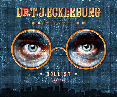 Mixed Media Royalty Free Images - The Eyes of Dr. TJ Eckleburg, Oculist - 01 - Blue - The Great Gatsby - F.Scott Fitzgerald Royalty-Free Image by Studio Grafiikka