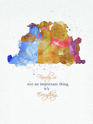 Animals Digital Art - The family of Pooh by Mihaela Pater