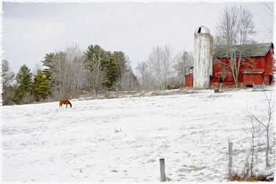 Animals Paintings - The Farm In Winter by Kathleen Rinker
