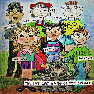 Drawings Royalty Free Images - The Fat Cat Gang of 72nd Street Royalty-Free Image by Sharon Hill