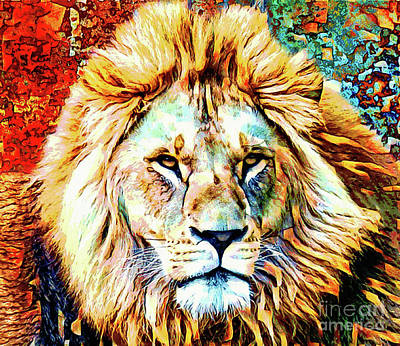 Animal Portraits - The Fierce Lion  by Tina LeCour