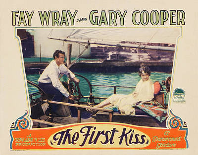 Mixed Media Royalty Free Images - The First Kiss, with Fay Wray and Gary Cooper, 1928 Royalty-Free Image by Stars on Art