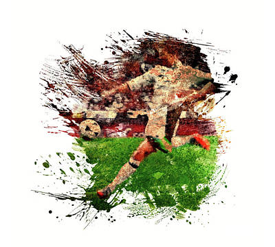 Sports Royalty-Free and Rights-Managed Images - The Football Player by All Sport Art