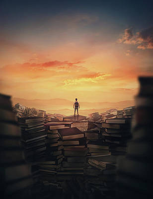 Surrealism Royalty-Free and Rights-Managed Images - The Forgotten Books by PsychoShadow ART