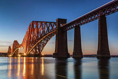 Photograph - The Forth Rail Bridge at dusk from South Queensferry, West Lothi by Diarmid Weir