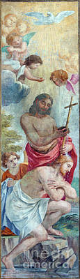 Pop Art - The fresco of The Baptism of Christ  by Jozef Sedmak
