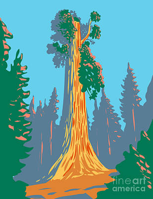Sara Habecker Folk Print - The General Grant Tree a Giant Sequoia in the General Grant Grove Section of Kings Canyon National Park in California WPA Poster Art by Aloysius Patrimonio