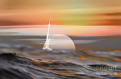 Surrealism Digital Art Rights Managed Images - The Ghost Ship Royalty-Free Image by Chris Bee Photography