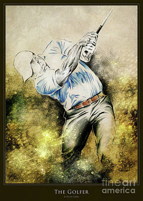 Mixed Media - The Golfer - Poster by Olivera Cejovic