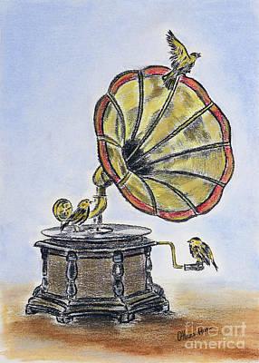 Drawing - The Gramophone by Olga Hamilton