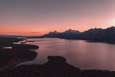 Royalty-Free and Rights-Managed Images - The Grand Tetons mountains in Wyoming - body of water near mountain during sunset - Grand Tetons, Wyoming, USA by Julien